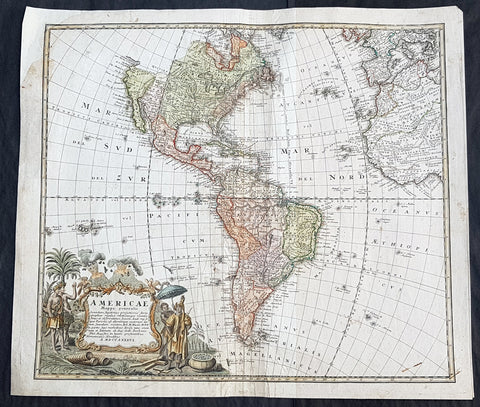 1746 Homann Large Antique Map of America