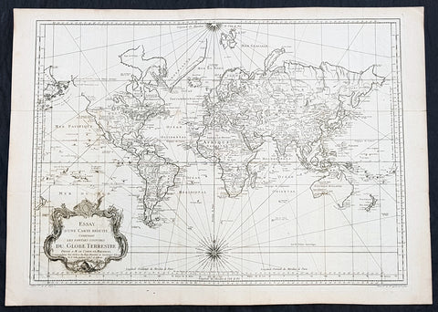 1748 (1770) Nicolas Bellin Large Antique World Map with Capt. Cooks Discoveries