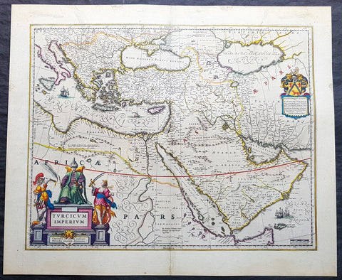 1643 Joan Blaeu Antique Map of Ottoman, Turkish Empire - Saudi Arabia to Europe