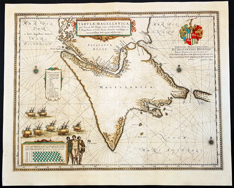 1642 Joan Blaeu Large Antique Map of Tierra Del Fuego & the Magellan Straits, South America