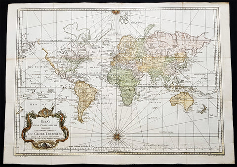 1748 (1770) Nicolas Bellin Large Antique World Map updated by Capt. Cook