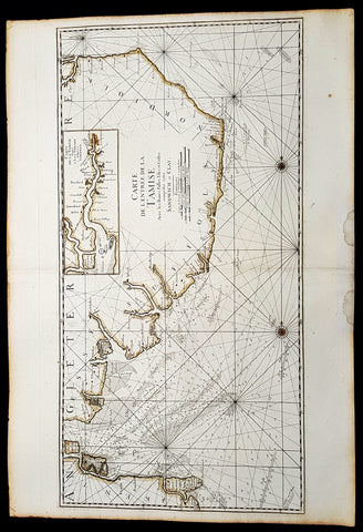 1693 A H Jaillot Large Sea Chart, Map of SE England and Thames Estuary, Clay to Sandwich