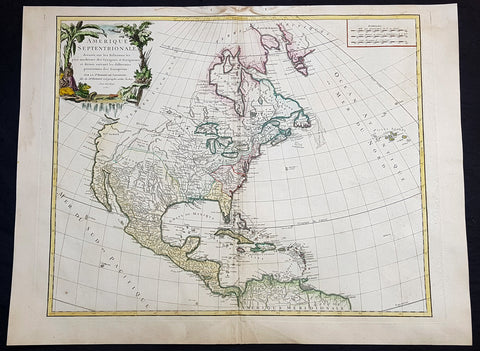 1750 Robert De Vaugondy Large Antique Map of Colonial North America, 1st Edition
