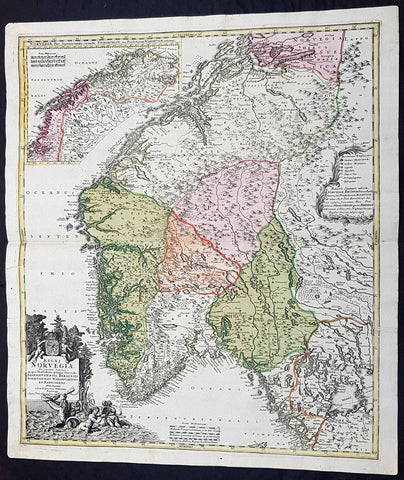1720 J B Homann Large Original Antique Map of Norway - Regni Norvegiae