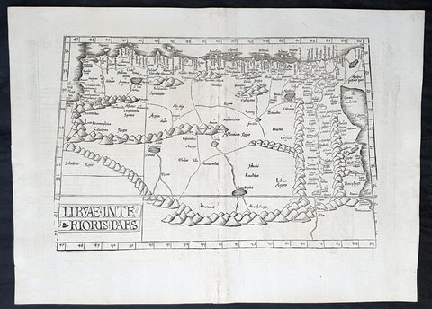 1525 Laurent Fries Antique Map NE Africa Red Sea, Egypt, Nile River Delta, Libya