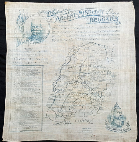 1899 Daily Map Antique Map South Africa 2nd Boer War Handkerchief R Kipling Poem