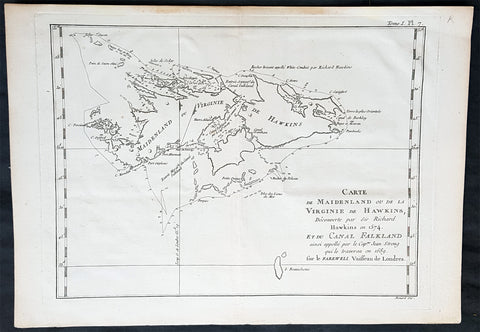 1774 Commodore John Byron Antique Map of The Falkland Islands South America