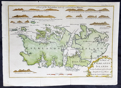 1770 Gentlemans Magazine Antique Map & Views of The Falkland Islands