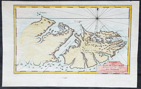 1760 Nicolas Bellin Antique Map of The Falkland Islands, South America