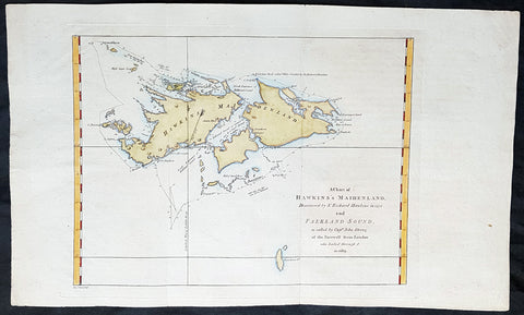 1773 Commodore John Byron 1st Ed Antique Map of The Falkland Islands Sth America