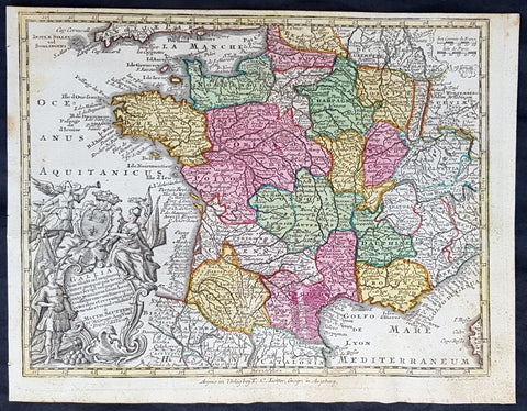 1744 Georg Mattaus Seutter Antique Map of France
