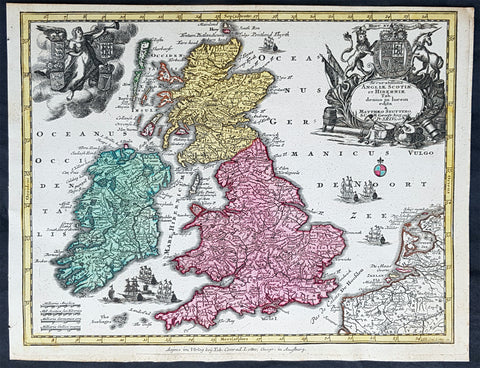 1744 Georg Mattaus Seutter Antique Map of Great Britain & Ireland - Scotland et.