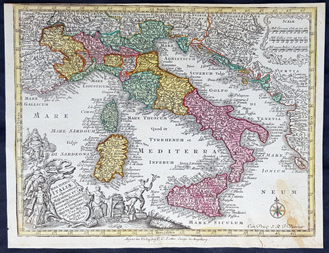 1744 Georg Mattaus Seutter Antique Map of Italy, Sicily Sardinia, Corsica