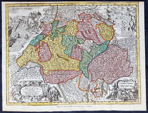 1744 Georg Mattaus Seutter Antique Map of Switzerland, Helvetia