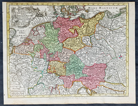 1744 Georg Mattaus Seutter Antique Map of Germany, Central & NW Europe