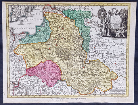 1744 Georg Mattaus Seutter Antique Map of Poland, Lithuania & Baltic Countries