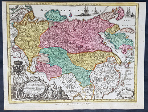 1744 Georg Mattaus Seutter Antique Map of The Russian Empire, China, Japan