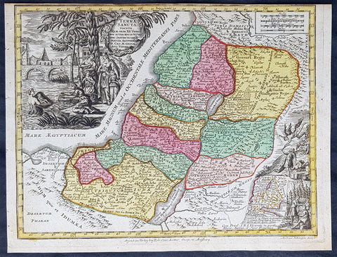 1744 Georg Mattaus Seutter Antique Map Holy Land, Palestine, Israel, XII Tribes
