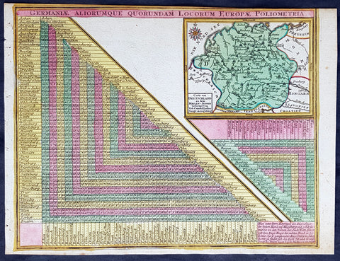 1744 Georg Mattaus Seutter Antique Map of Germany w/ European City Mileage Chart