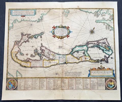 1634 Henricus Hondius Antique Map of The Island of Bermuda