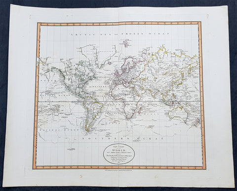 1801 John Cary Large Antique World Map of Mercators Projection - New Holland