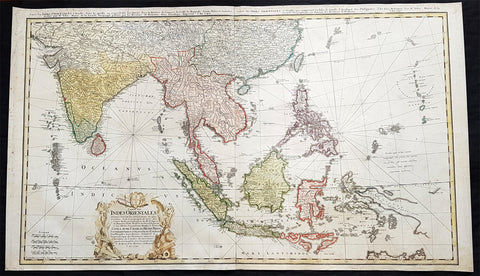 1748 Homann Large Antique Map of Australia, Indonesia, China, SE Asia, India