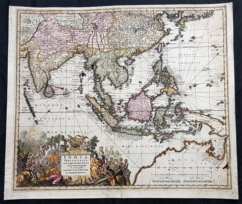 1730 Georg Seutter Large Antique Map Australia, China, SE Asia, Indonesia, India