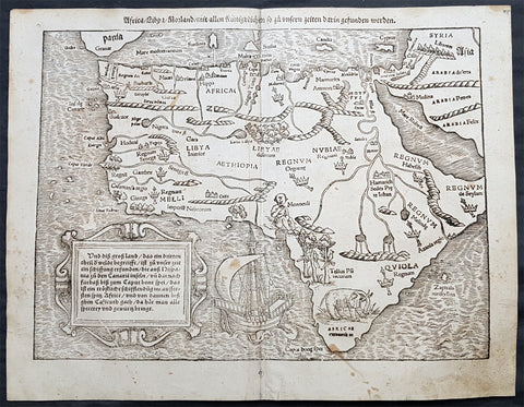 1560 Sebastian Antique Map of Africa - First Map of the African Continent