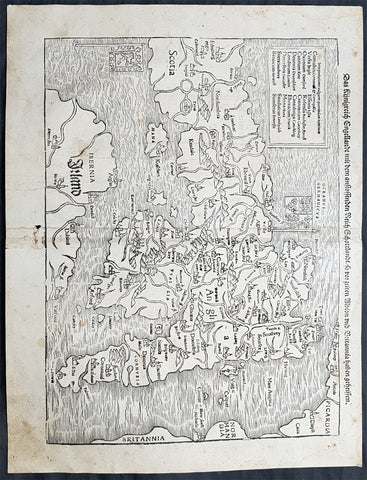1560 Sebastian Antique Map England Wales Scotland Ireland - First Map of Britain