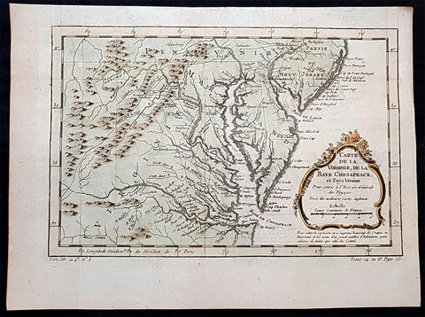 1756 J N Bellin Antique Map Virginia, Chesapeake Bay, Maryland & parts NJ & PA