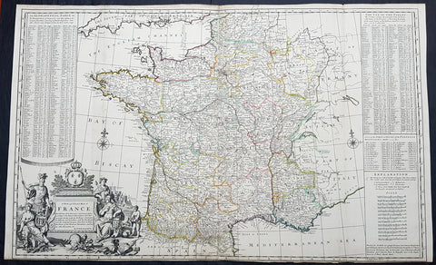 1720 Herman Moll Large Antique Map of France in Provinces - Pre Revolution