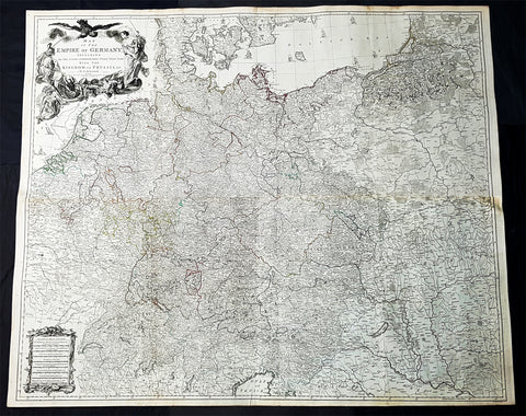 1759 Delarochette & Kitchin 1st Edition Antique Map of Germany Central Europe - Rare