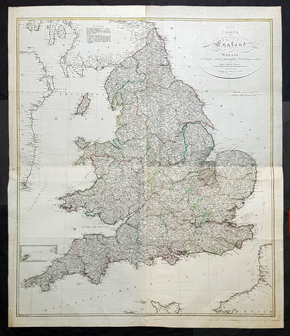 1803 Thomas Kitchen & Johannes Walch Large Antique Wall Map of England & Wales