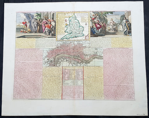 1719 Henri Chatelain Large Antique Map of London, England & 2 Allegorical Views