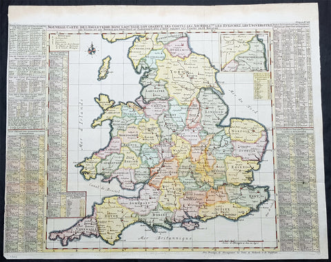 1719 Henri Chatelain Large Antique Map of England & Wales