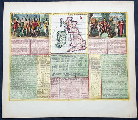 1719 Henri Chatelain Large Antique Map Great Britain & Ireland Allegorical Views
