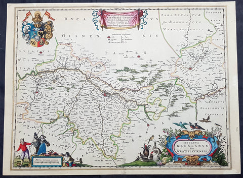 1670 Joan Blaeu Antique Map City & Region Breslau, Wroclaw, Silesia Lower Poland