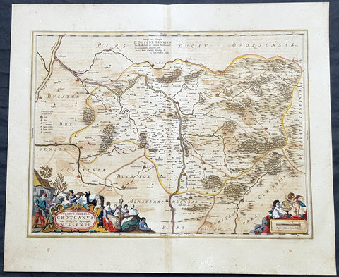 1662 Joan Blaeu Antique Map Duchy of Nysa, Gmina Grodkow Lower Silesia SW Poland