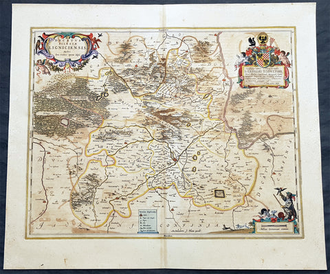 1662 Joan Blaeu Antique Map of the Duchy of Legnica, Lower Silesia in SW Poland