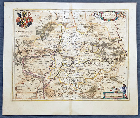 1662 Joan Blaeu Antique Map of Wołow County, Lower Silesia Voivodeship SW Poland