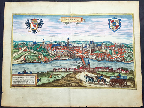 1574 Braun & Hogenberg Antique Map View of Gorlitz-Zgorzelec, Germany & Poland