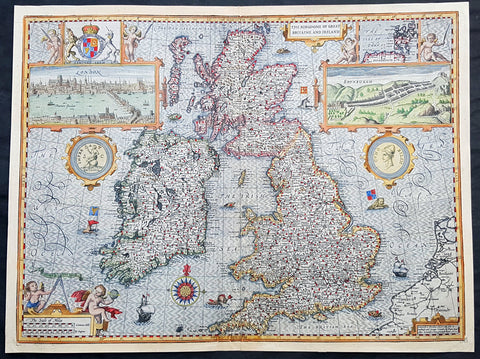 1611 John Speed 1st Edition Map of Great Britain & Ireland - London & Edinbugh