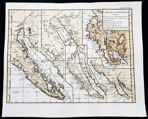 1770 De Vaugondy & Diderot Antique Maps of Cartographical Views of California