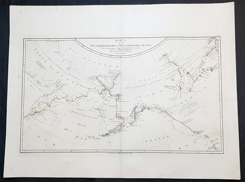 1788 Franz Schraembl & Capt Cook Large Antique Map NW America Alaska, California
