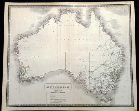 1856 A K Johnston Large Antique Map of Australia, early Separation of Victoria