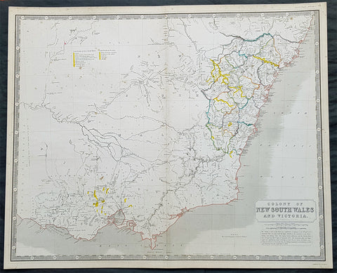 1856 A K Johnston Large Antique Goldfields Map of Victoria & New South Wales