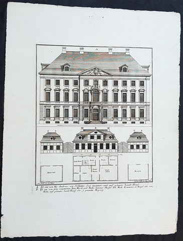 1740 Wolff & Corvinus Antique Arch Print of Berlin Mansions by A. von Schlütter