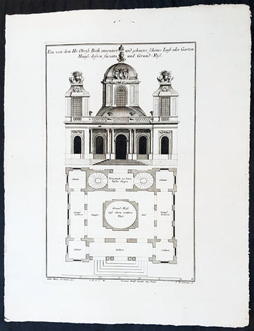 1740 Wolff & Corvinus Antique Architectural Print Charlottenburg Palace, Gardens