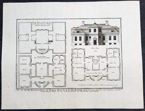 1740 Wolff & Corvinus Antique Arch Plan Officers Quarters, Royal Arsenal, Berlin