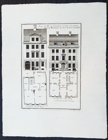 1740 Wolff & Corvinus Antique Arch Print Plans of Residential Houses in Berlin